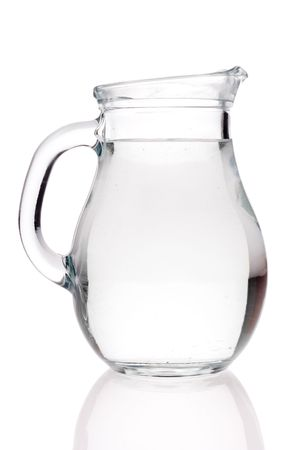 Water pitcher against white background Stock Photo