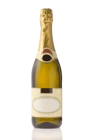 Unopened expensive champagne against white background Stock Photo