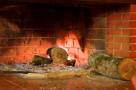 A view of a fireplace Stock Photo - 658190