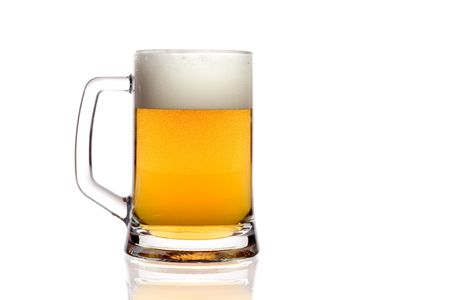 Beer mug against white background photo