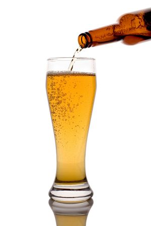 Glass of beer isolated against white background Stock Photo