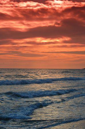 Beautiful beach at sunset on Corfu island, Greece photo