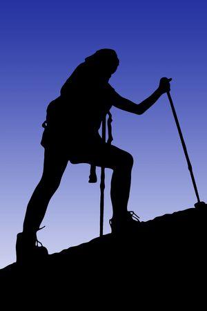 tough woman: Young woman climbing a cliff