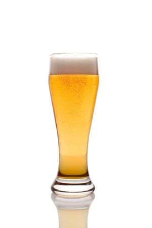 Beer glass isolated against white background