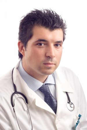 Portrait of a young male doctor against white background Stock Photo - 739735