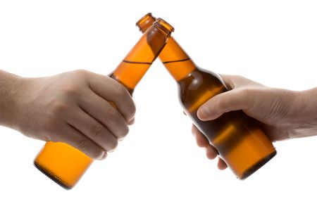 hand holding bottle: Cheers