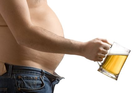 big belly: Fat man holding a beer glass Stock Photo