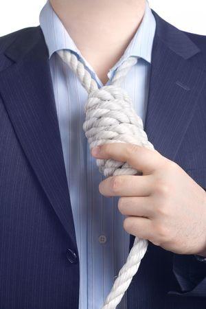noose: Businessman with a noose around his neck