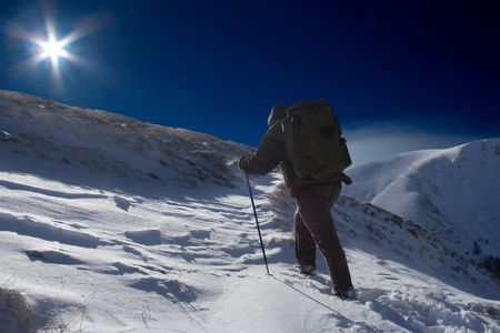 Climber going to the top of the mountain in Macedonia Stock Photo - 841120