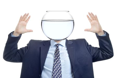 Man with a water bowl instead of a head Stock Photo - 852594