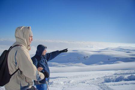 Explorers on a mountain top in Macedonia Stock Photo - 852591