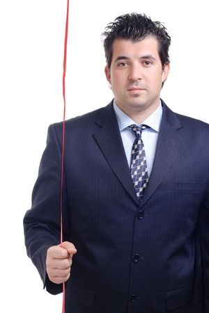 Man holding a red string in his hand Stock Photo - 861105