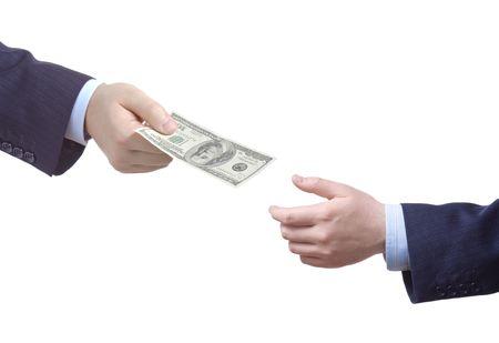 remuneraci�n: Persona entrega dinero a otra persona  Foto de archivo