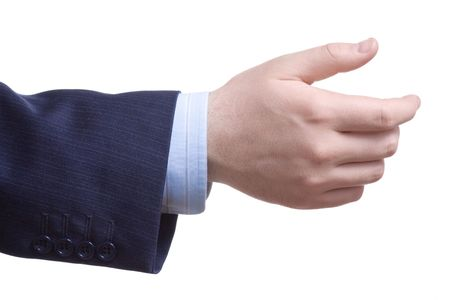 hand wear: Man with an empty hand asking for help