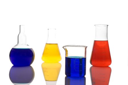 Laboratory glassware against white background Stock Photo - 939017