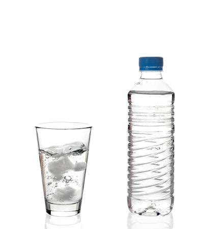 Water bottle and a glass of water photo