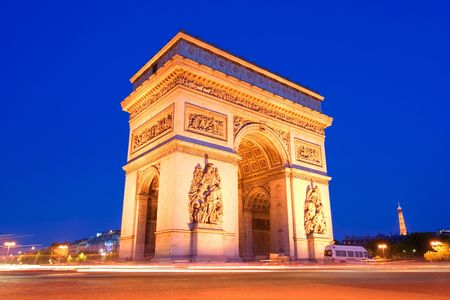 The arc the Triumph in Paris at night Stock Photo - 939014
