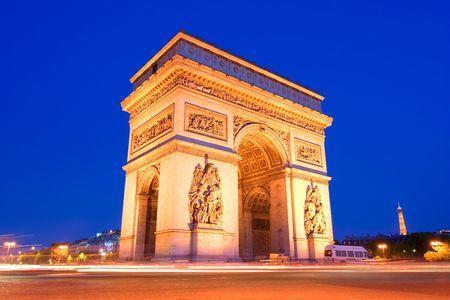 The arc the Triumph in Paris at night Stock Photo - 939014