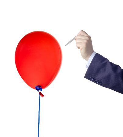 blast: Balloon burst against white background Stock Photo