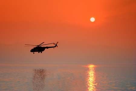Helicopter flying over Ohrid lake, Macedonia Stock Photo - 1438563