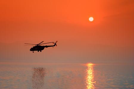 Helicopter flying over Ohrid lake, Macedonia Stock Photo - 1438563