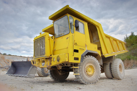Dumper truck at a construction site Stock Photo