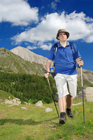 national scenic trail: Hiking in national park Pirin, Bulgaria