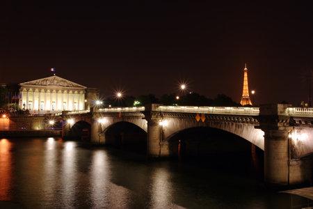 les: Les Invalides building, by night in Paris, France