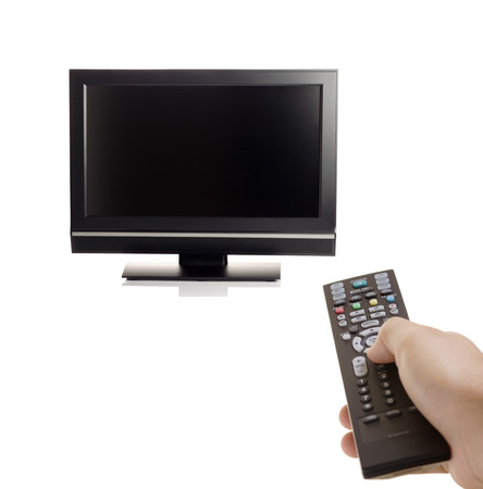 telly: TV set and a person with a remote in his hand