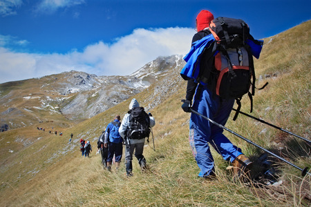 expedition: Alpine expedition going towards the peak Korab, Macedonia Stock Photo