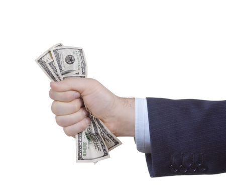 Businessman holding money against white background Stock Photo - 2023924
