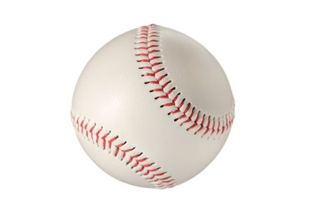 athletic gear: Baseball ball against white background