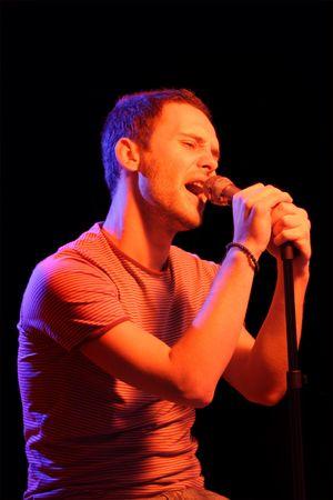 pop singer: Rock star at a concert Stock Photo