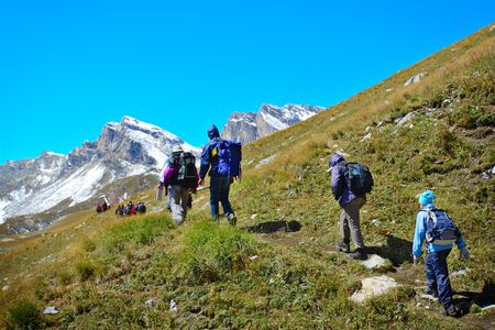 Active lifestyle-People trekking in the mountains Stock Photo - 2093378