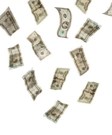 Money falling from above Stock Photo