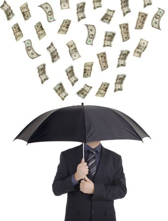 Money raining down on a person with an umbrella photo