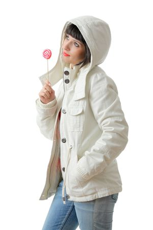 Beautiful woman with a lollipop isolated on white background Stock Photo - 2290180
