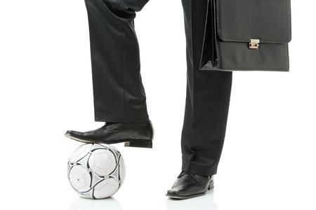Businessman with a soccer ball Stock Photo - 2297898