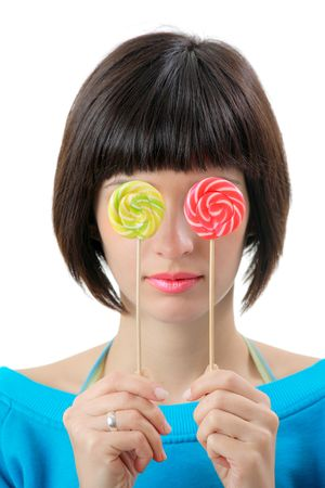 Young woman with lollipops photo