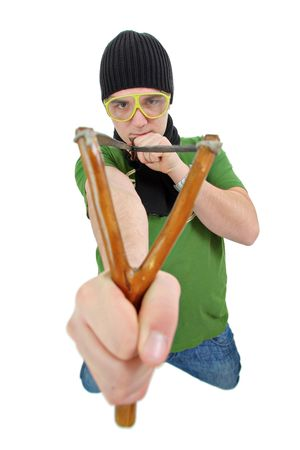 rascal: Person with a slingshot Stock Photo