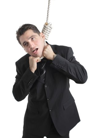 Person suffocating from being hanged Stock Photo