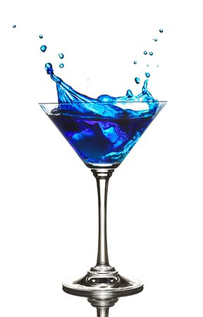 Blue Curacao cocktail splash isolated on white photo