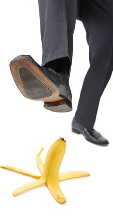 Person about to step on a banana peel