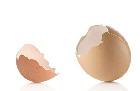 Empty eggshell against white background photo