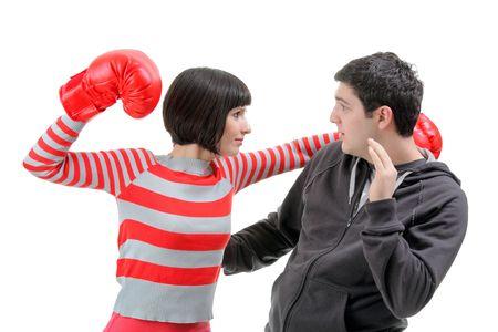 danger box: Fight between girlfriend and boyfriend Stock Photo