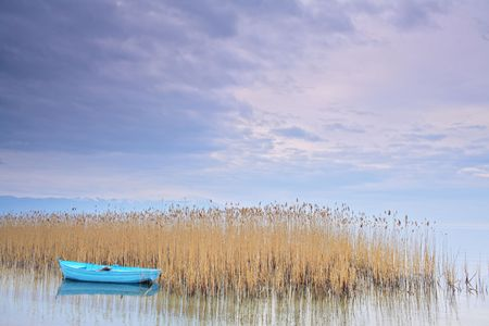 Fishing boat at lake Ohrid Macedonia photo
