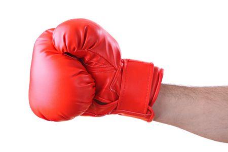 brawl: Boxer against white background