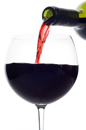 Red wine pouring down from a wine bottle (clipping path included) against white background Stock Photo - 2689911