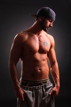 ni�o sin camisa: Retrato de un var�n hermoso Foto de archivo