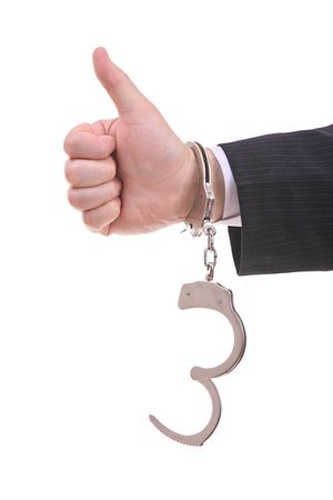 Handcuffed businessman giving the go-ahead Stock Photo - 2891979